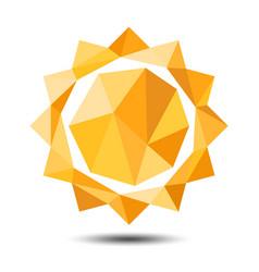 polygon sun icon on white background vector image
