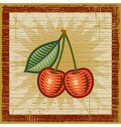 Retro cherry vector image vector image