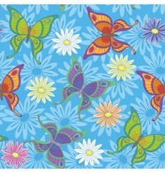 Seamless background flowers and butterflies vector image vector image