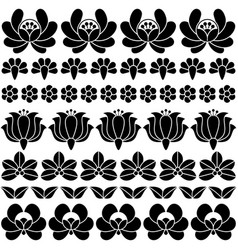 Seamless hungarian black folk art pattern - floral vector