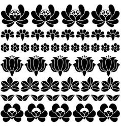 Seamless hungarian black folk art pattern - floral vector