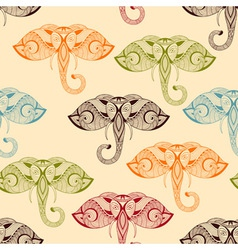Seamless Pattern with Bright Doodle Elephants vector image