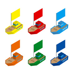 Set of colored isometric ships with flags vector