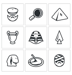Set of egypt icons archaeology search vector
