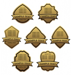 set of golden labels vector image