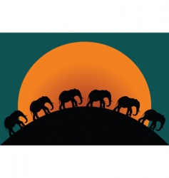 silhouette of elephants vector image vector image