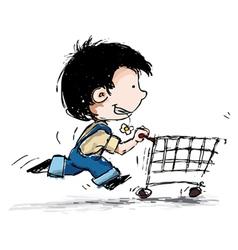 Smiling boy shopping vector
