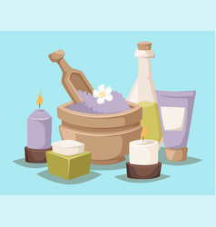 Spa icons treatment beauty procedures vector