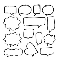Speech or thought bubbles set Cartoon doodle vector image