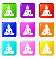 Statue of buddha sitting in lotus pose icons 9 set vector
