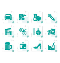 stylized leisure activity and objects icons vector image