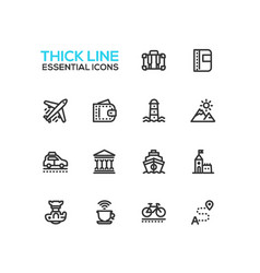 traveling - line icons set vector image