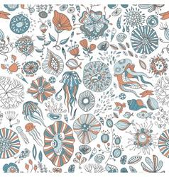 Underwater sea creatures vector