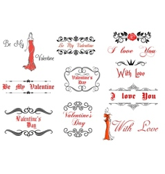 Valentines Day elements and decorations vector image vector image
