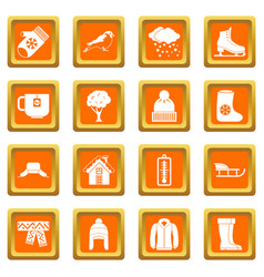 Winter icons set orange vector