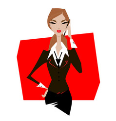 woman in suit talking on phone vector image