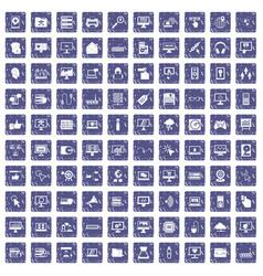 100 computer icons set grunge sapphire vector