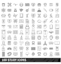 100 study icons set outline style vector
