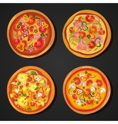 Flat hot pizza icons pizza isolated on white vector