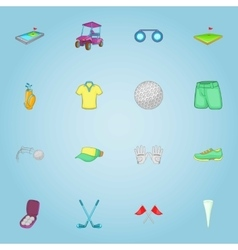 Golf club icons set cartoon style vector image