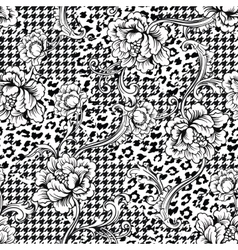 Eclectic fabric seamless pattern Animal and plaid vector image