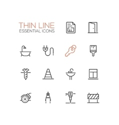 Home road repair - thin line icons set vector