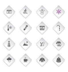 winter icon set vector image