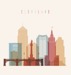 Cleveland skyline city multicolor silhouette vector