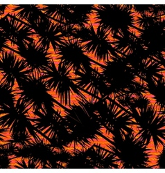 Pattern with palm leaves on tropical sunset vector