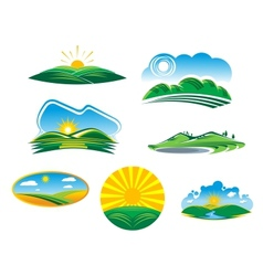 Set of sunny summer landscapes vector