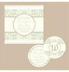 weddding vintage cards set vector image