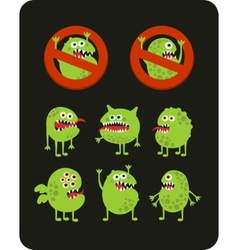 Set of cute green microbes vector