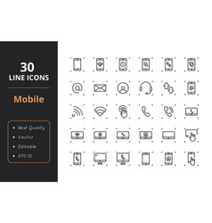 30 mobile line icons vector image