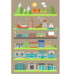 Flat city infographics vector image