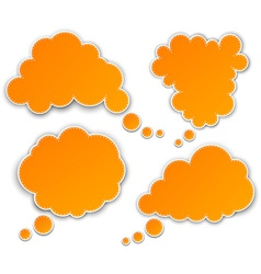 Set of paper orange clouds vector