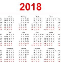 2018 calendar template vertical weeks first day vector
