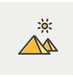 The pyramids of giza thin line icon vector