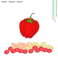 Red bell peppers with vitamin c b6 and k vector