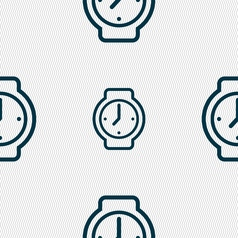 Watches icon sign seamless pattern with geometric vector