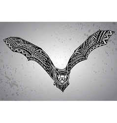 Hand drawn graphic ornate bat vector