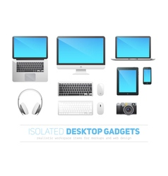 Set of realistic responsive desktop devices vector