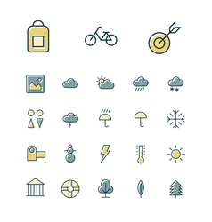 Icons thin blue leisure weather vector