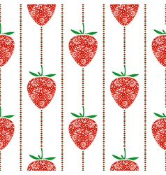 Pattern with closeup decorative ornamental strawbe vector