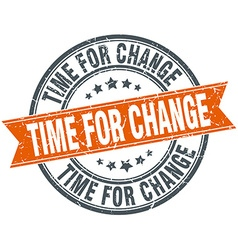 Time for change round orange grungy vintage vector
