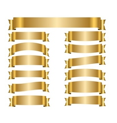 Ribbon gold banners set vector image