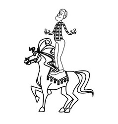 Acrobat clown on circus horse entertainment vector