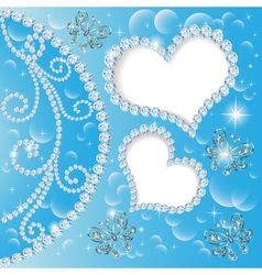 background with hearts and butterflies made of pre vector image