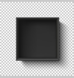 Black empty box on transparent background top vector