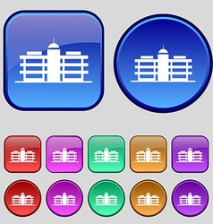 Business center icon sign a set of twelve vintage vector