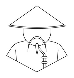 Chinese man icon outline style vector